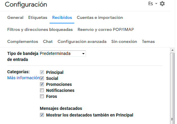 configuracion categorias gmail